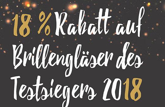 Mit 18 % Rabatt auf Brillengläser des Testsiegers 2018!